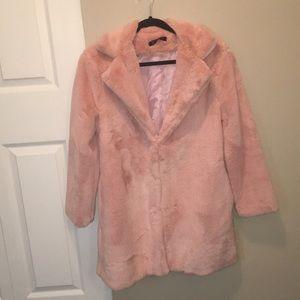 Pink fluffy winter coat - never worn